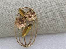 Vintage 14kt Solid Floral Brooch,Two-Tone, Open Oval,