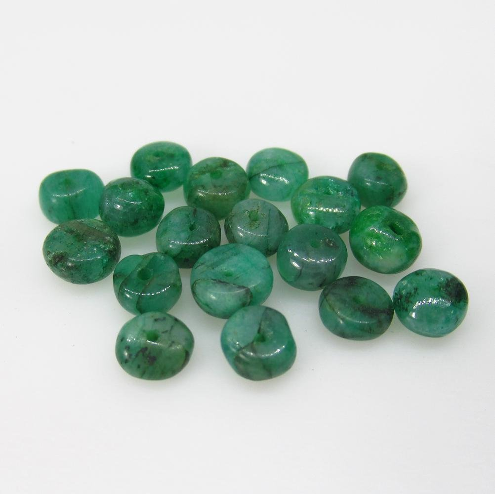 8.00 Ct Natural 18 Zambian Emerald Drilled Round Beads