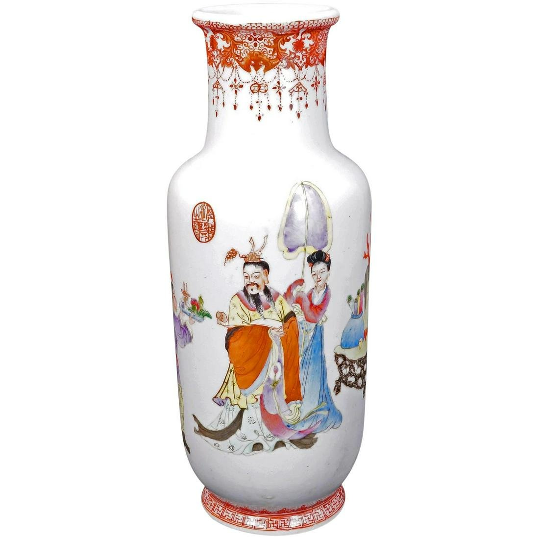 Chinese Republic Polychrome Vase Emperor and Servants