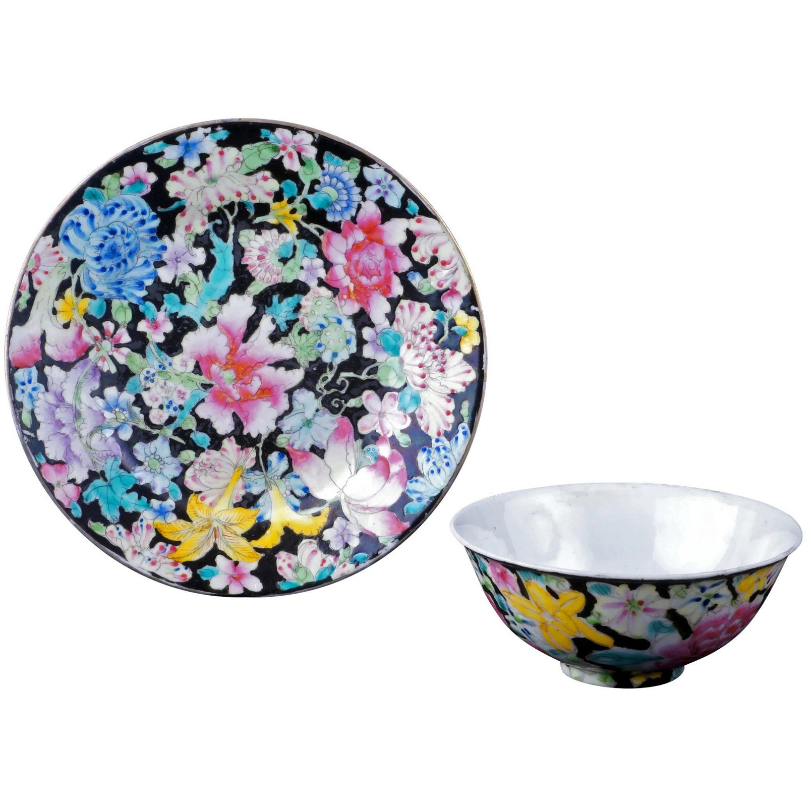 Chinese Republic Thousand flower bowl and plate