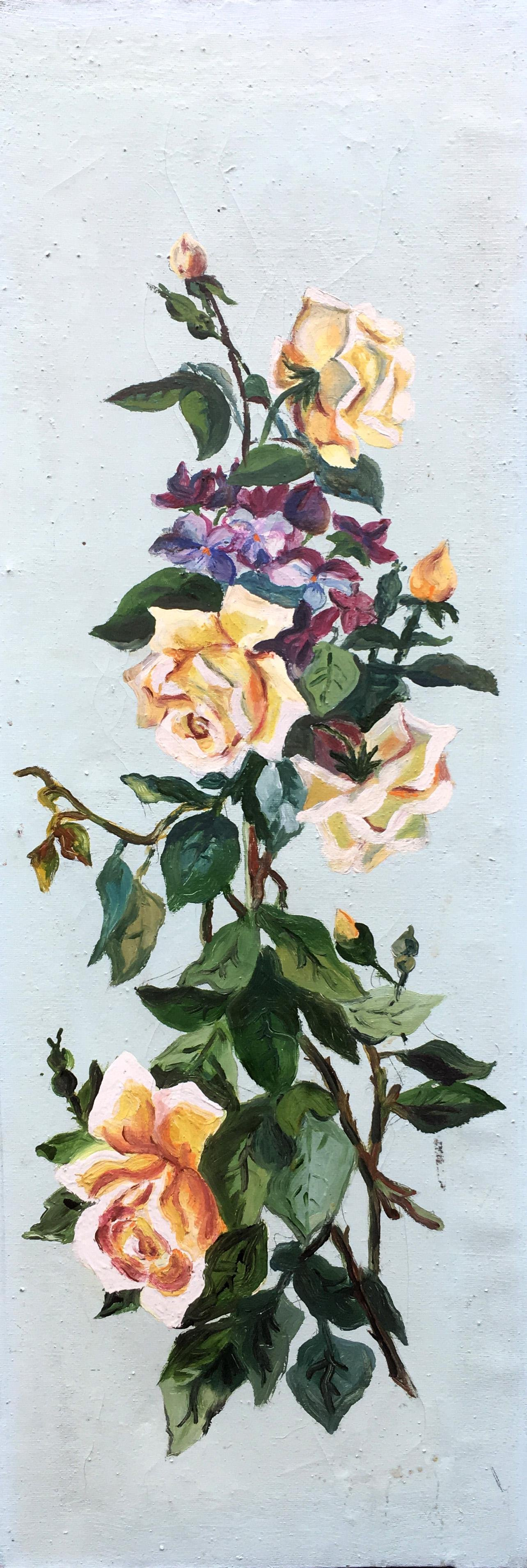 Oil painting Roses are vertical