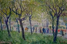 Oil painting Park landscape Sergey Basov