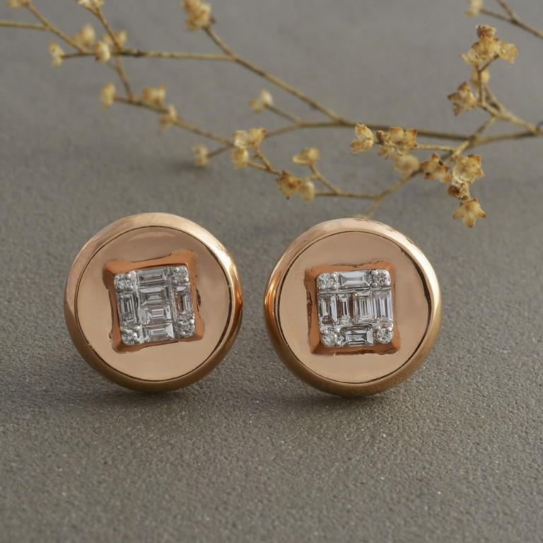 IGI Certified Baguette Diamond Stud Earrings 18K Gold