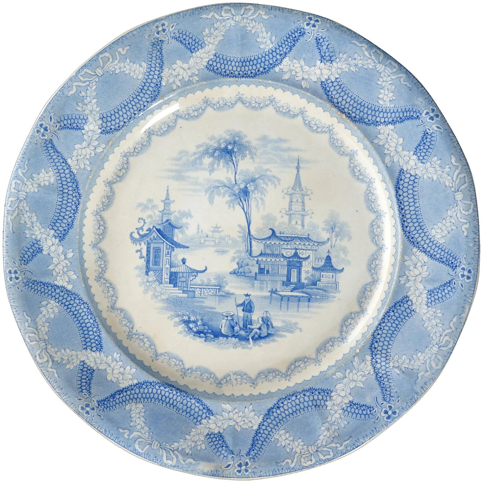English 19th C Chinoiserie Staffordshire Plate Amoy