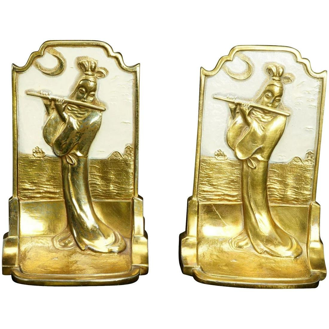 "Pair Pompeian Bronze Deco ""Oriental"" Bookends"