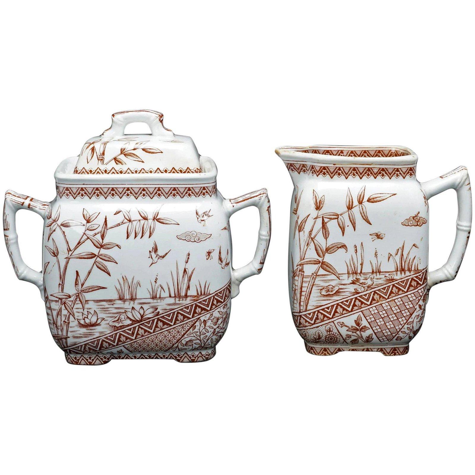 English 19th C Burmah Transferware Pitcher Sugar Bowl