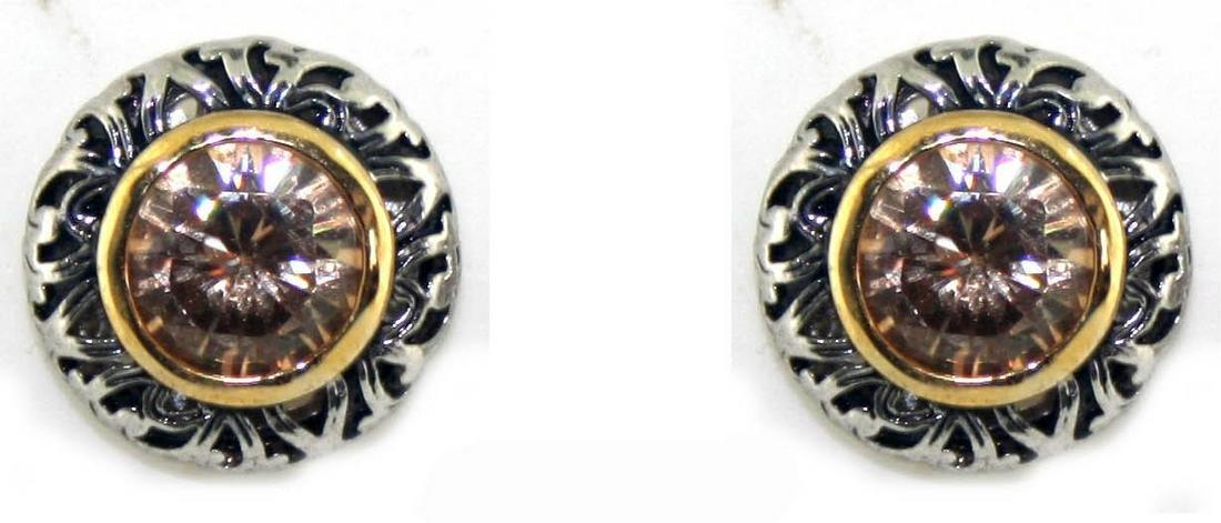 5 Ct Sterling Silver Fancy Yellow Lab Sapp Earring