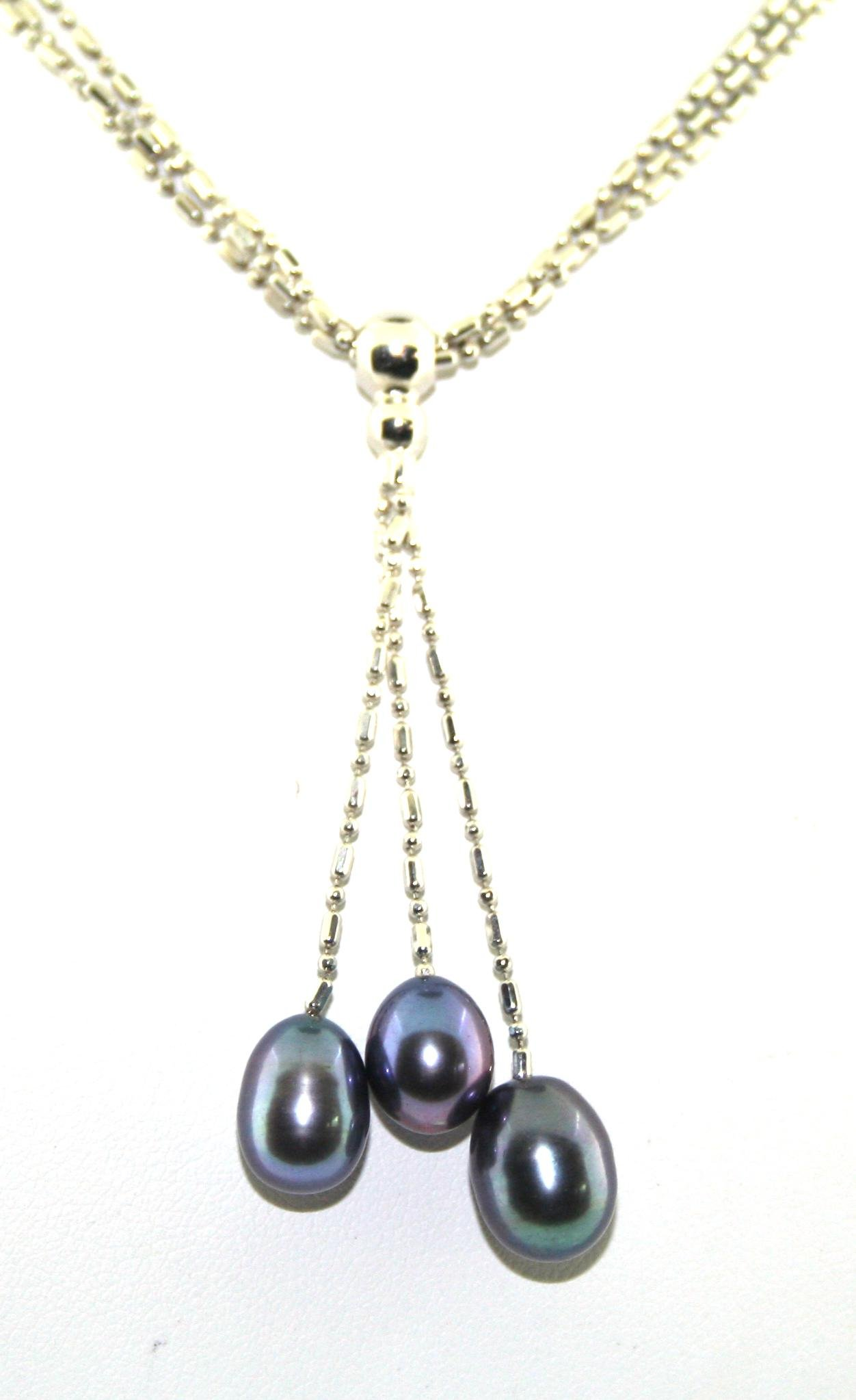 16 Inch Pearl & Silver 10MM Necklace