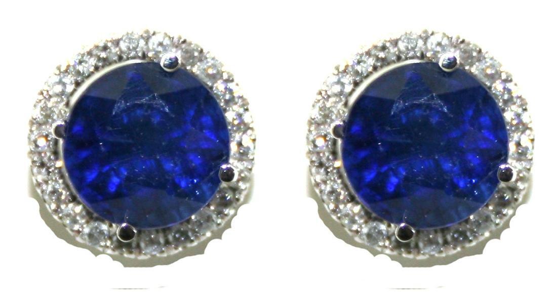 4 Ct Diamond & Sapp 3.50 Grams 18K Earring