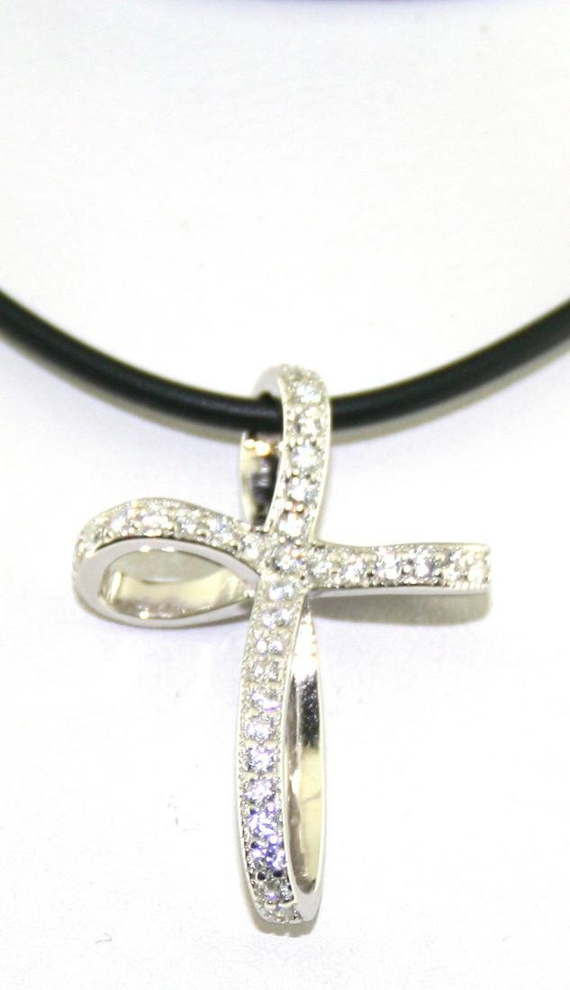 1 Ct Created Sapp Sterling Silver Cross Necklace