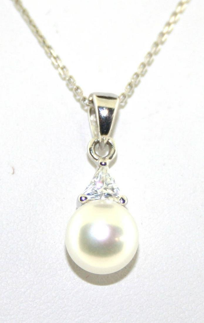 0.50 Ct Created Sapp & 6MM Pearl Sterling Silver