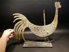 Folk Art Wood & Metal Rooster Weathervane