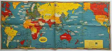 WWII 1942 DATED EVENTS WORLD WAR MAP by PETERSEN