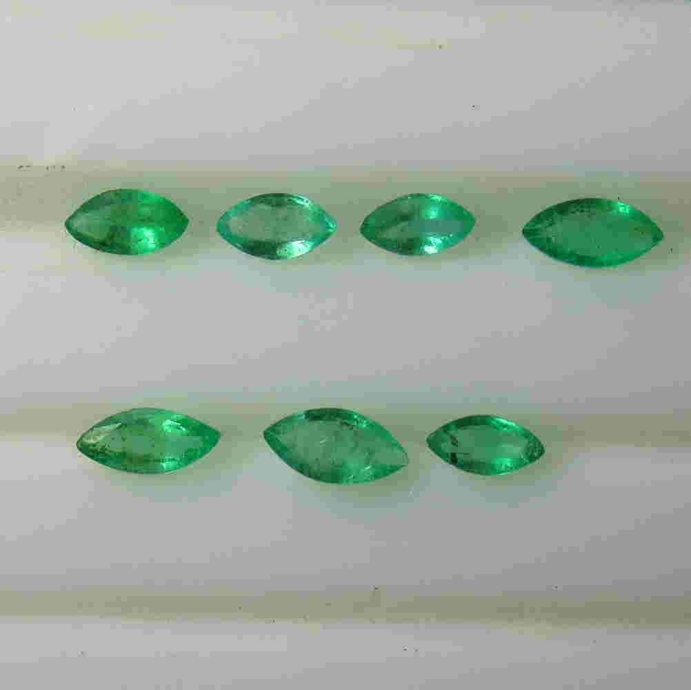 0.69 Ctw Natural 7 Zambian Emerald Marquise Necklace