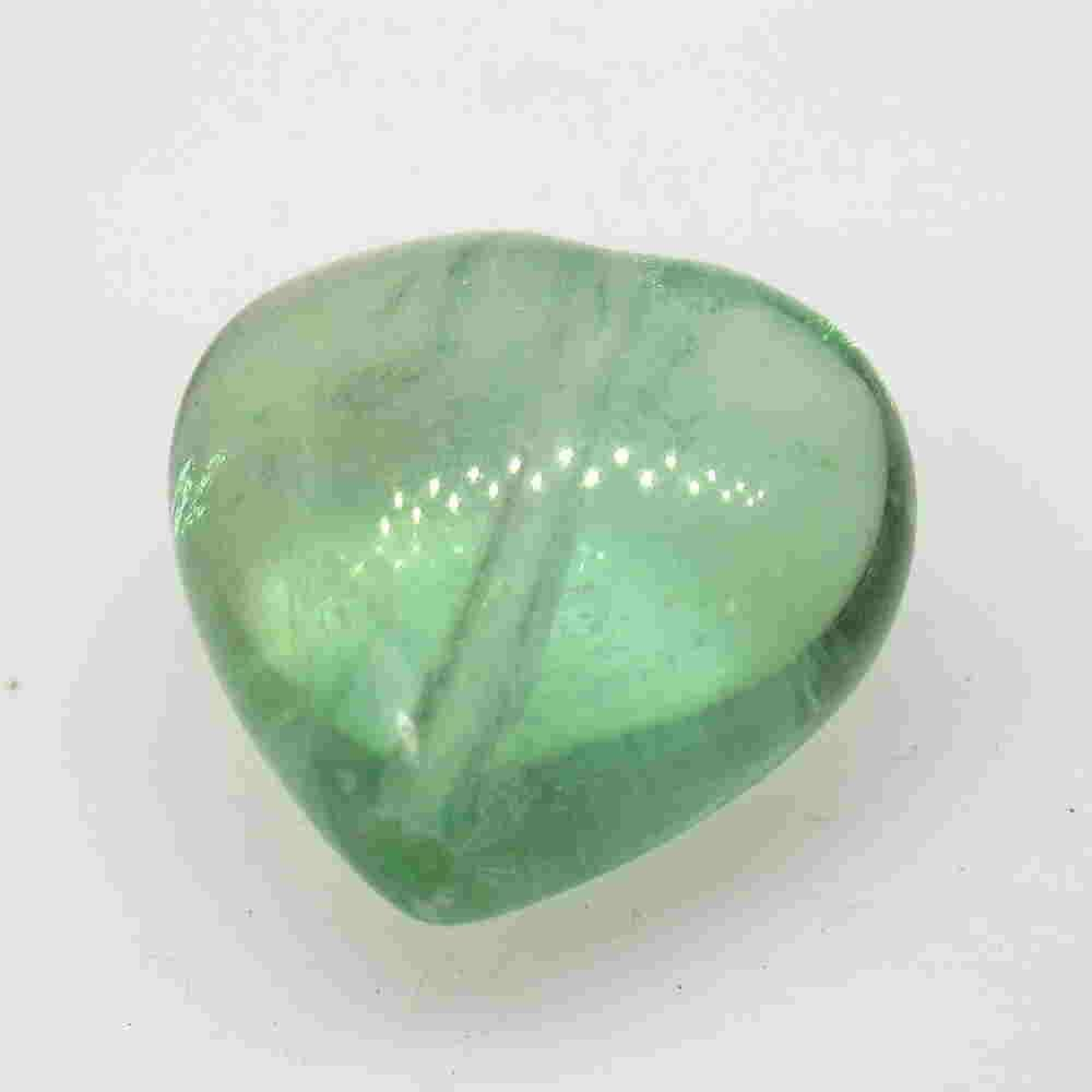 16.90 Ctw Natural Green Flourite Drilled Heart Drop