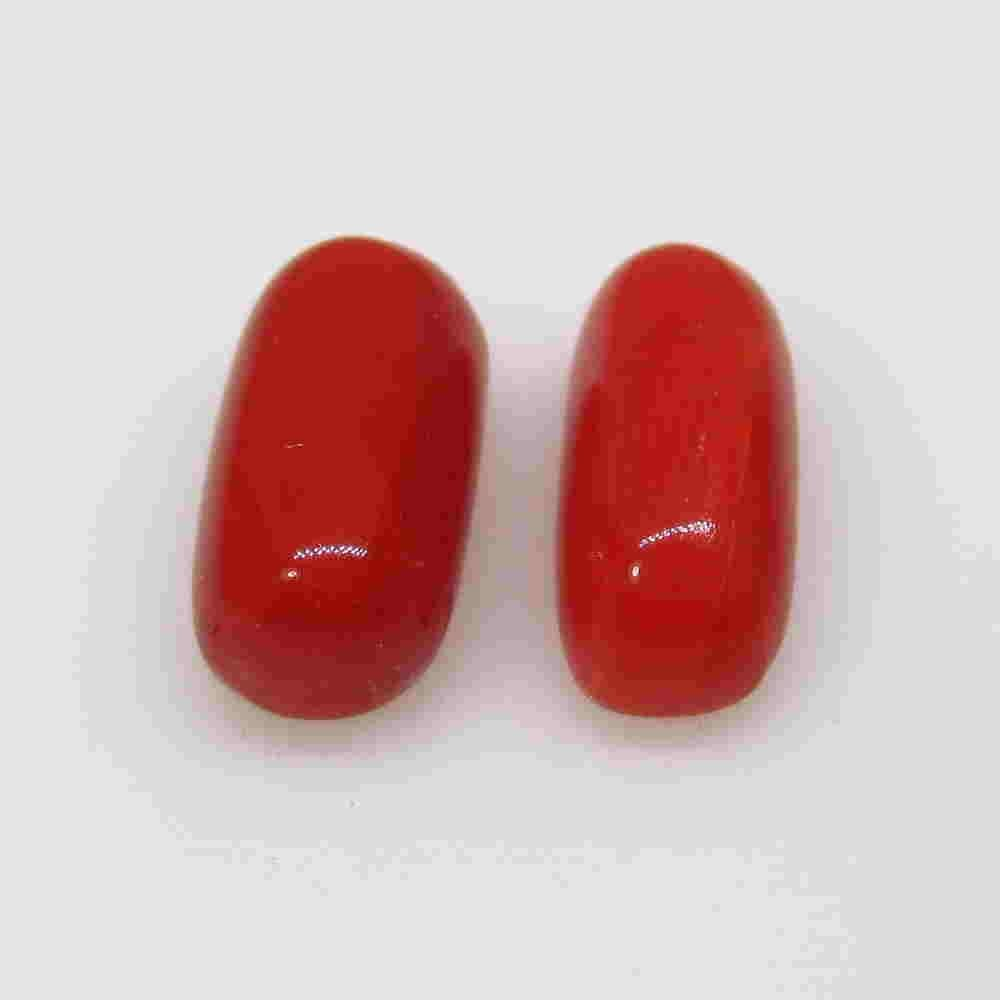 4.81 Ctw Natural Italian Red Coral Cabsule Pair