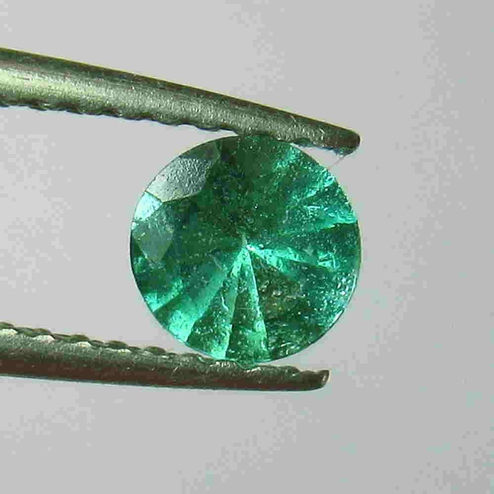 0.38 Ctw Natural Zambian Emerald Round Cut