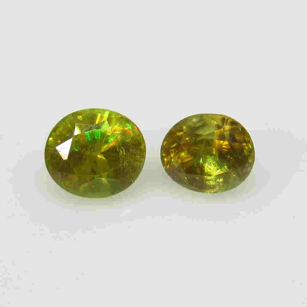 2.06 Ctw Natural Sphene Oval Pair