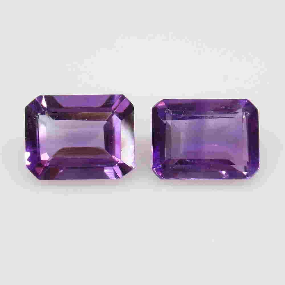 3.74 Ctw Natural Purple Amethyst Octagon Pair