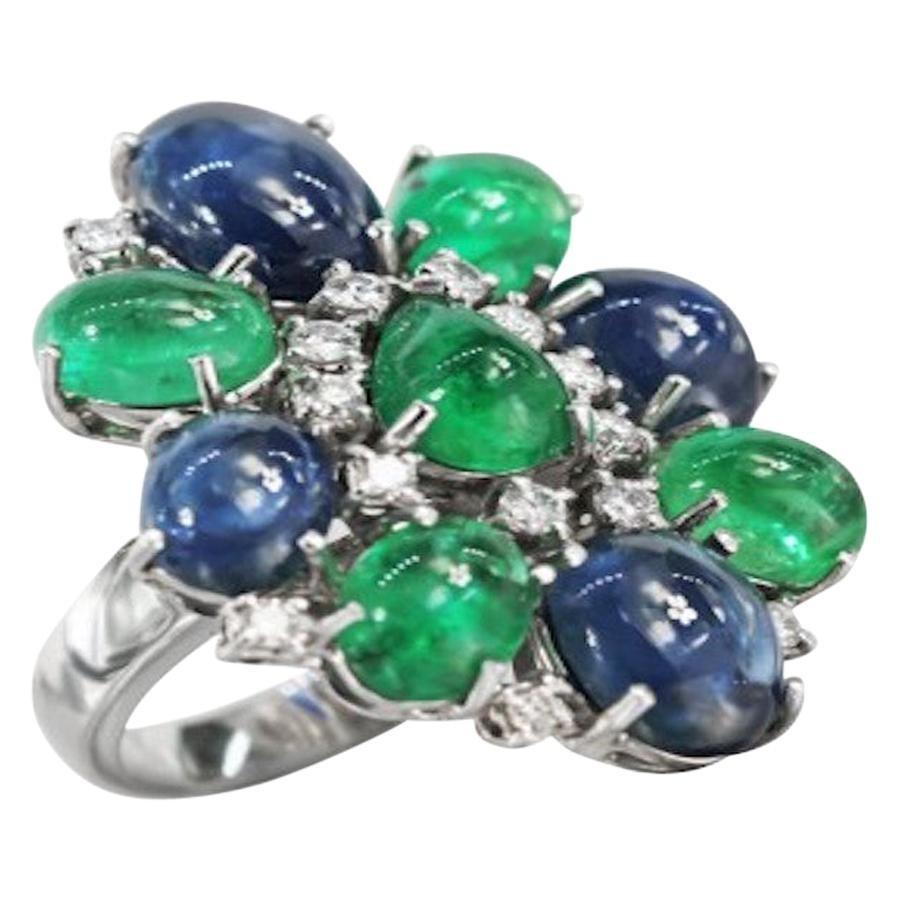 Gianni Lazzaro Diamond Sapphire Emerald White Gold 18