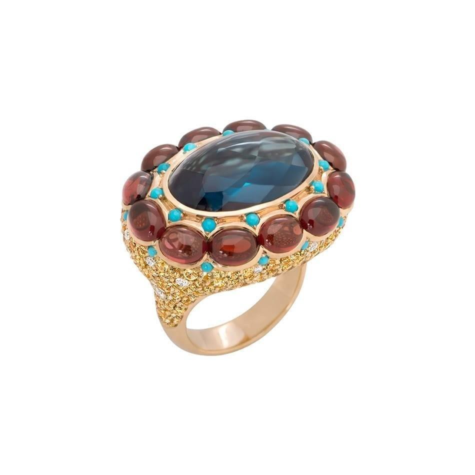 Natkina Turquoise Sapphire 15 Carat Topaz Garnet