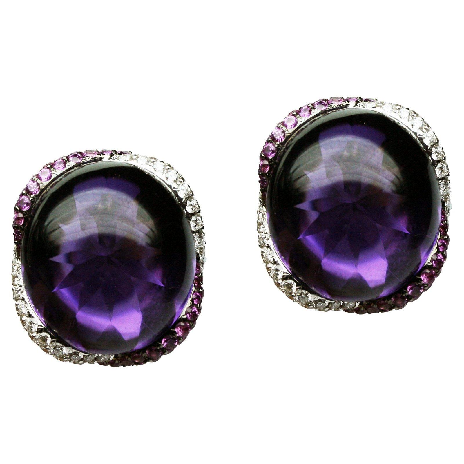 Impressive Amethyst Diamond Pink Sapphire 18 Karat