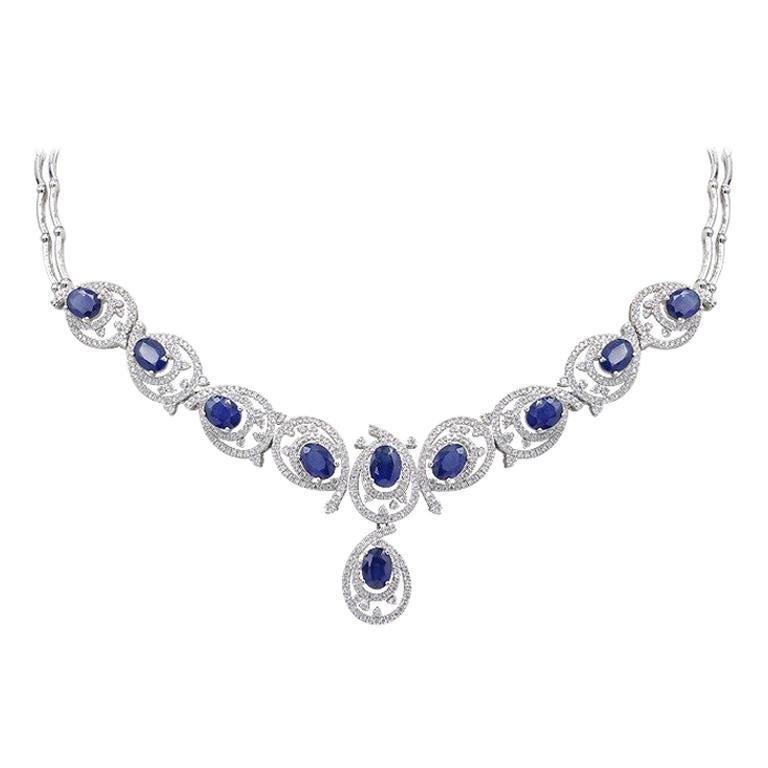 Rare Fine Jewellery Blue Sapphire Diamond White Gold
