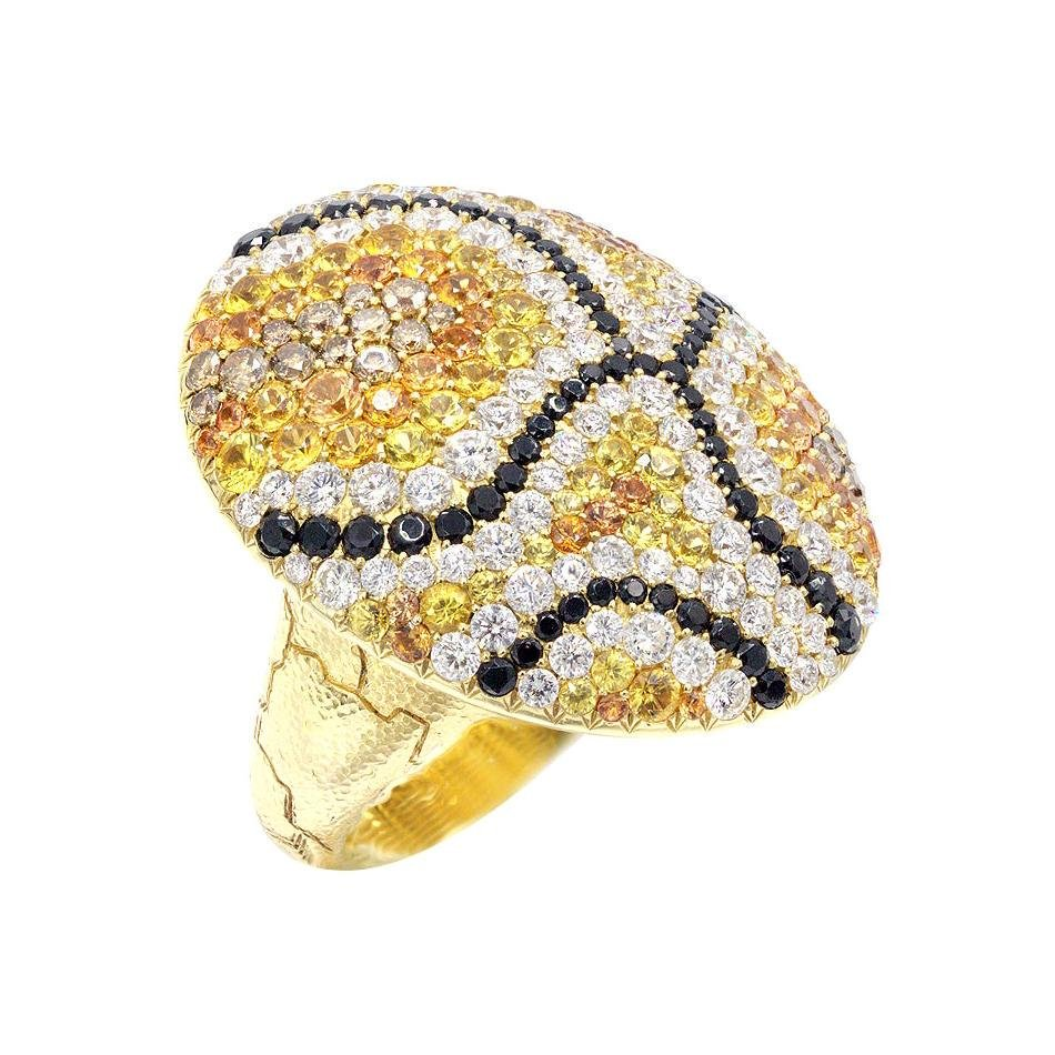 Yellow and Orange Sapphire, White Diamond 18 Karat