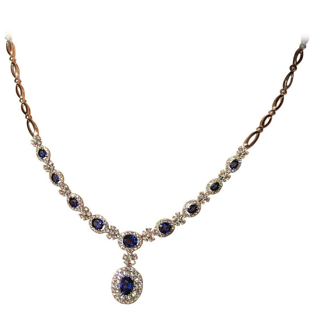 Impressive Blue Sapphire and White Diamond Royal