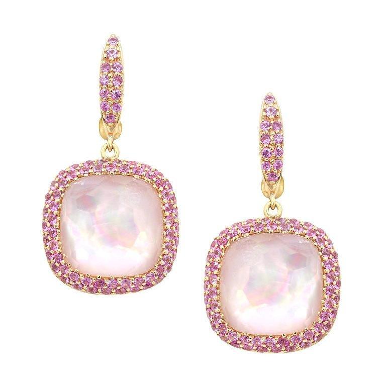 Elegant Pink Sapphire Mother of Pearl Rock Crystal 18K