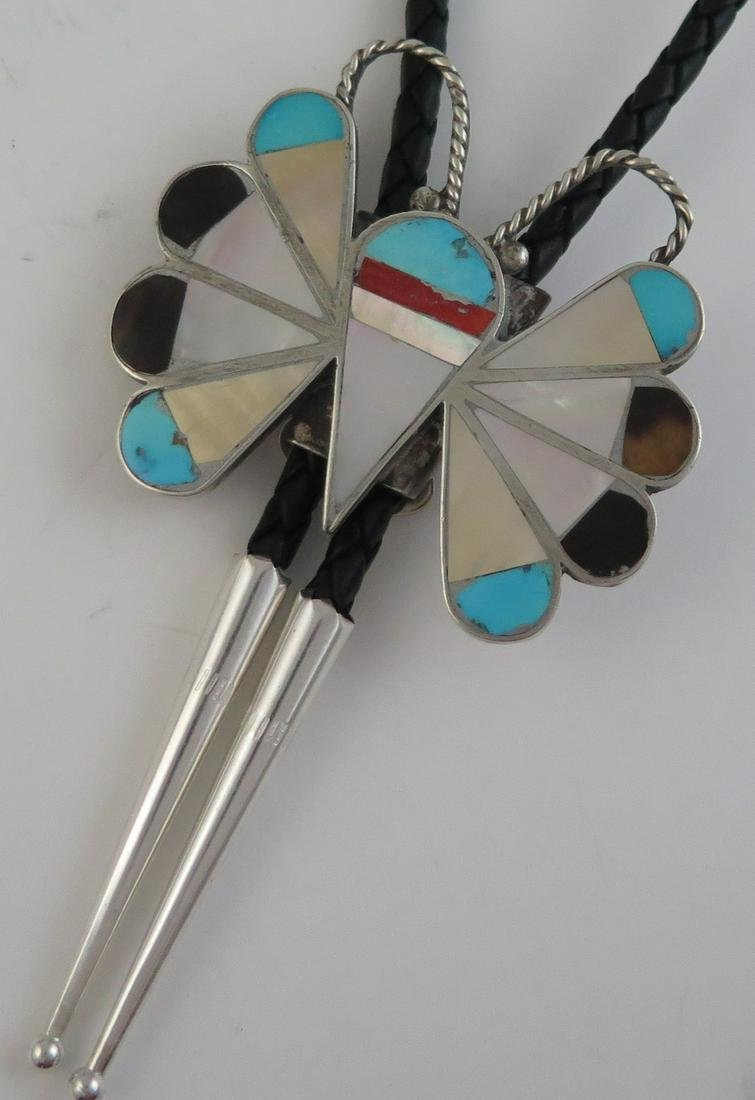 Vintage Sterling Silver Butterfly Mosaic Bolo Tie