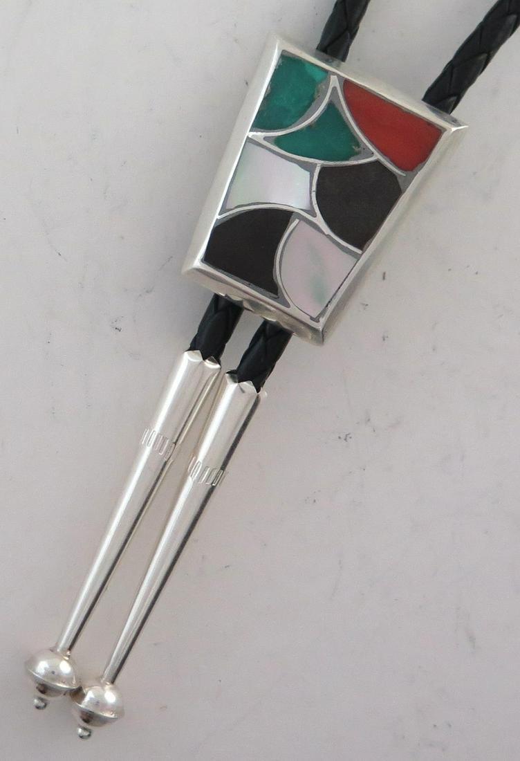 Sterling Silver Multicolor Mosaic Inlay Bolo Tie