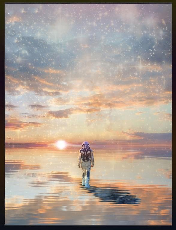 "Original digital print ""Skydive"", by Chinese artist Yue"