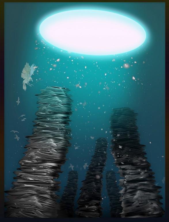 "Original digital print ""Falling"", by Chinese artist Yue"