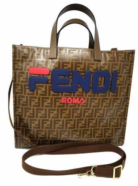 Fendi Mania Logo Shopper Tote Zucca Large Canvas Bag