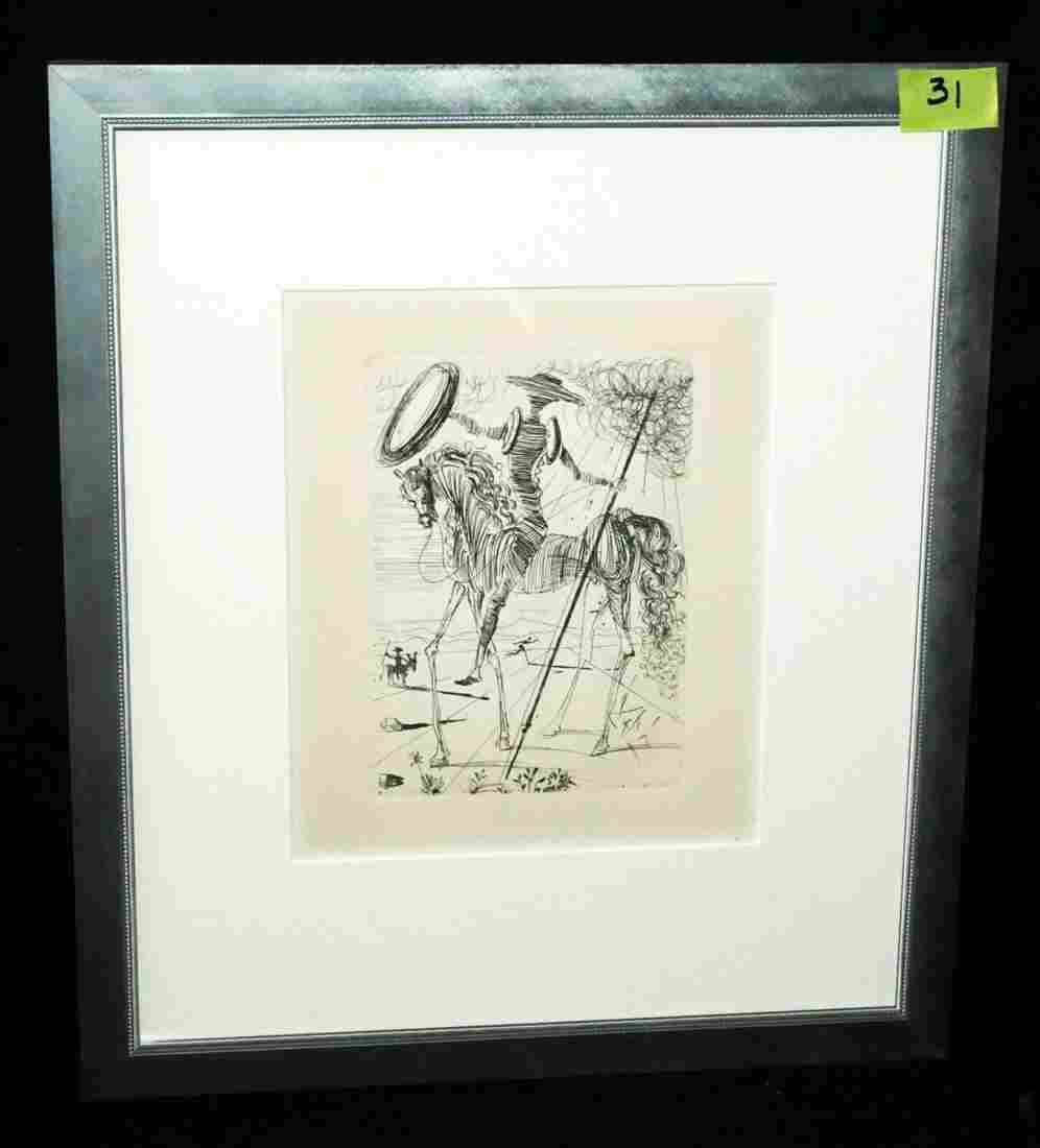 "Vintage Framed Etching ""Don Quixote"" by Salvador Dali"
