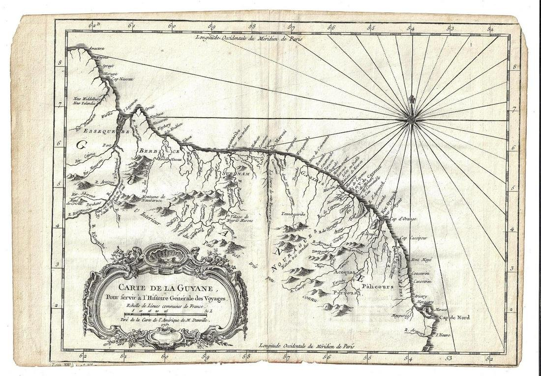 1757 Jacques Bellin Map Carte De La Guyane