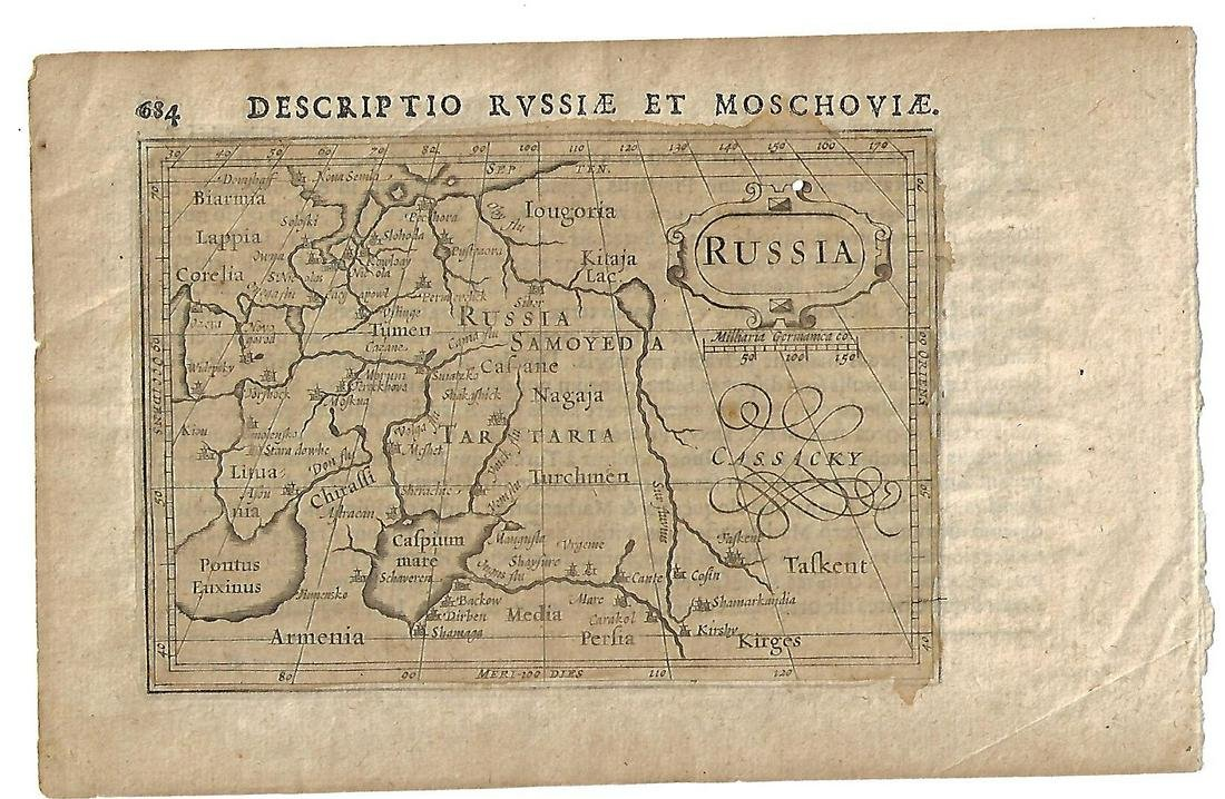 Rare 17th C Map of Russia