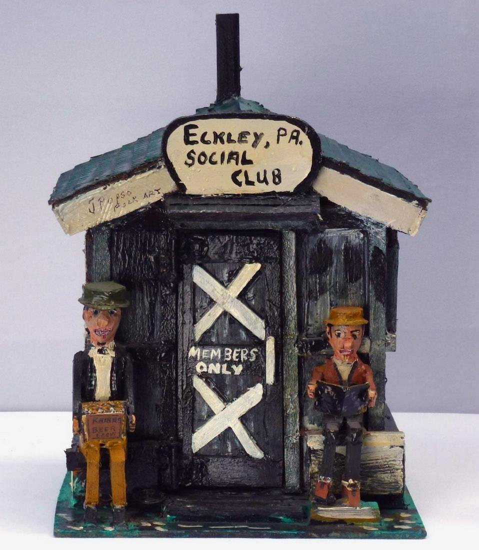 Outsider Art carved assemblage Eckley Social Club