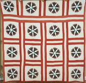 1880's Red, Black & White Mariner's Compass Quilt