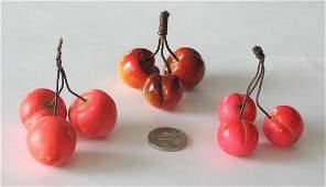 Group of vintage stone cherries.