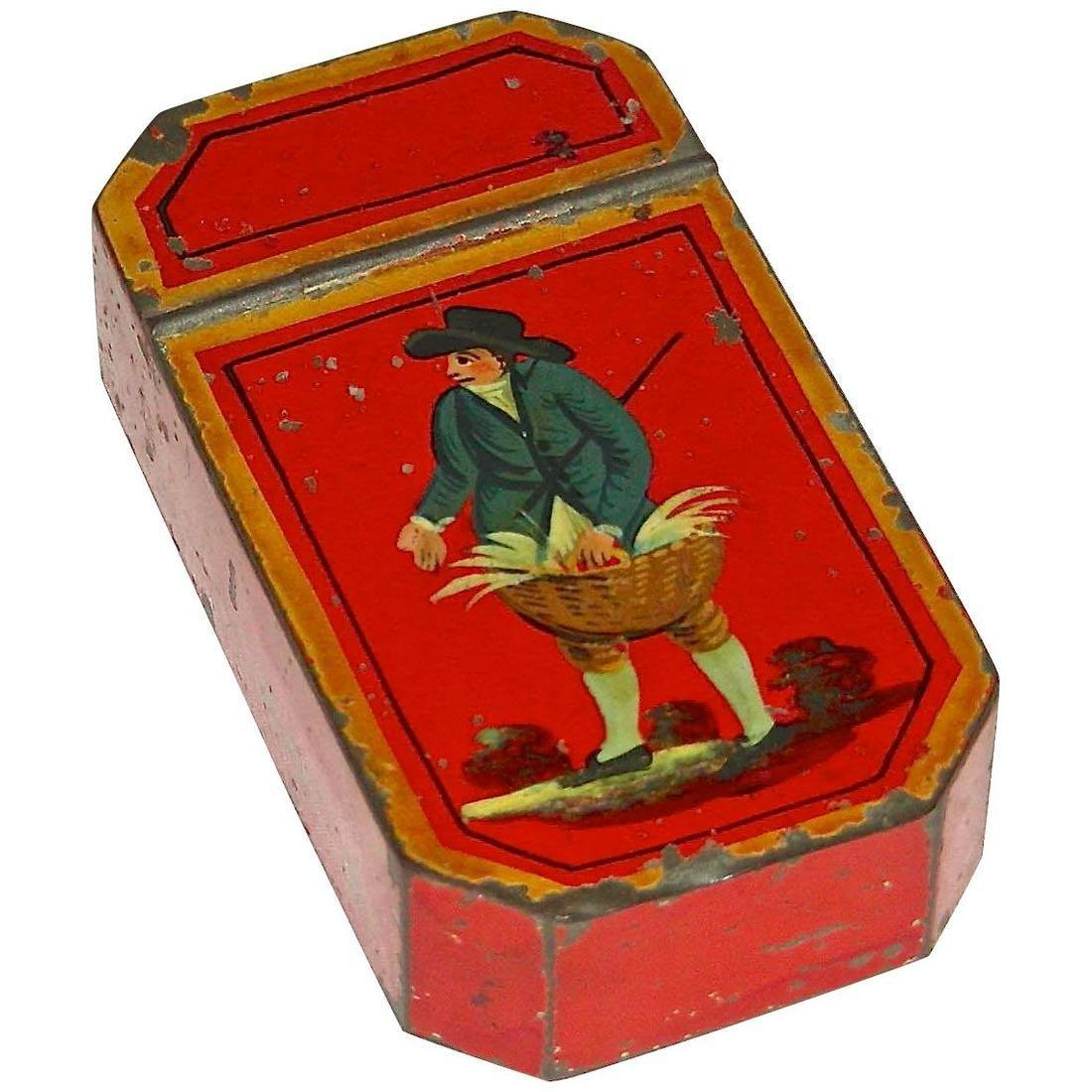 Red Decorated Toleware Snuff Box, c. 1840