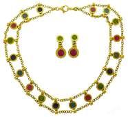 BVLGARI Gems Yellow Gold Necklace Earrings SET Vintage