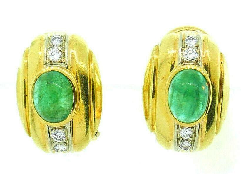 Vintage Italian 18k Yellow Gold Cabochon Emerald