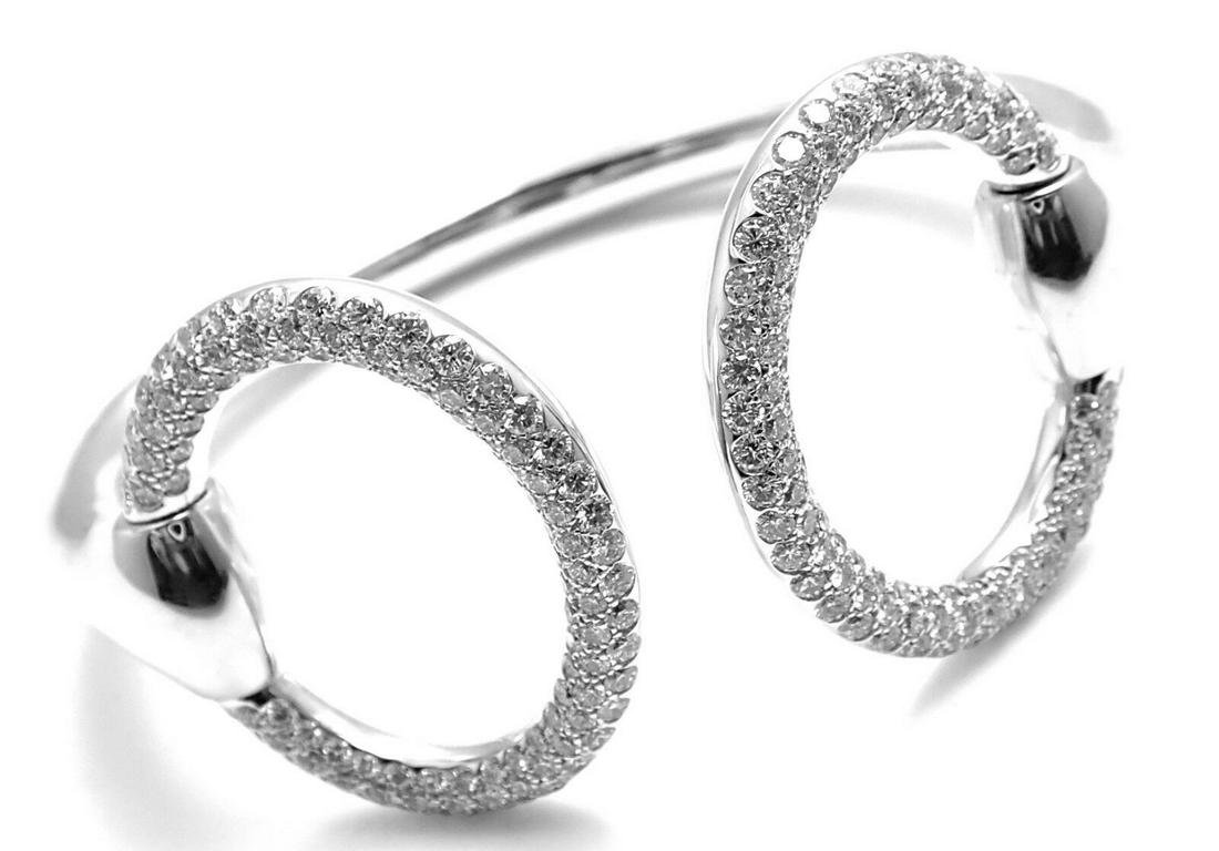 Authentic! Hermes Nausicaa 18K White Gold Diamond