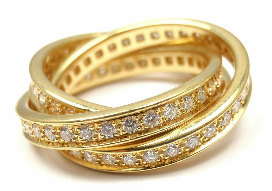 Authentic! Cartier 18k Yellow Gold Diamond Trinity Band