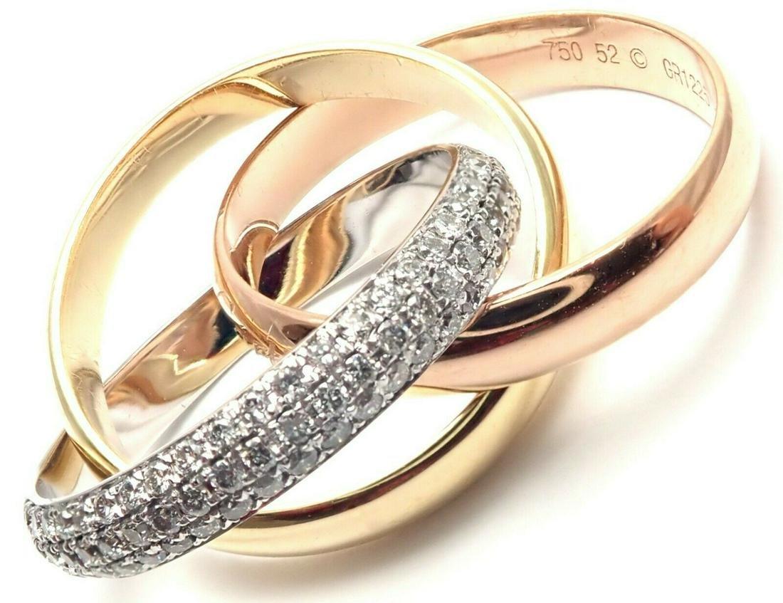 Authentic! Cartier 18k Tri-Color Classic Diamond