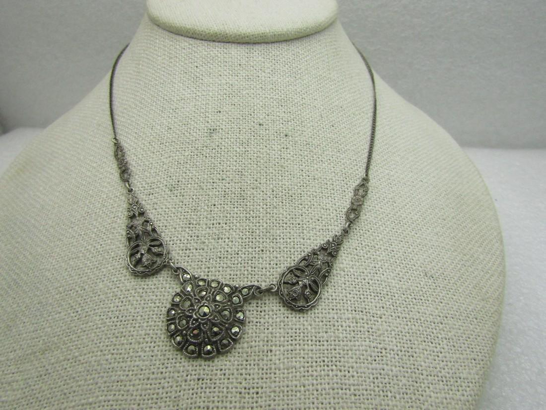 Vintage Sterling Silver Marcasite Necklace,