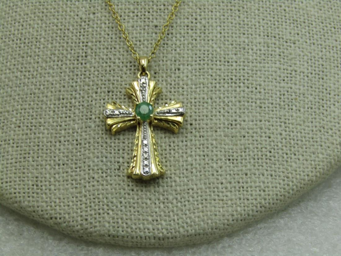 Sterling Gold Vermeil Emerald Diamond Cross Necklace,