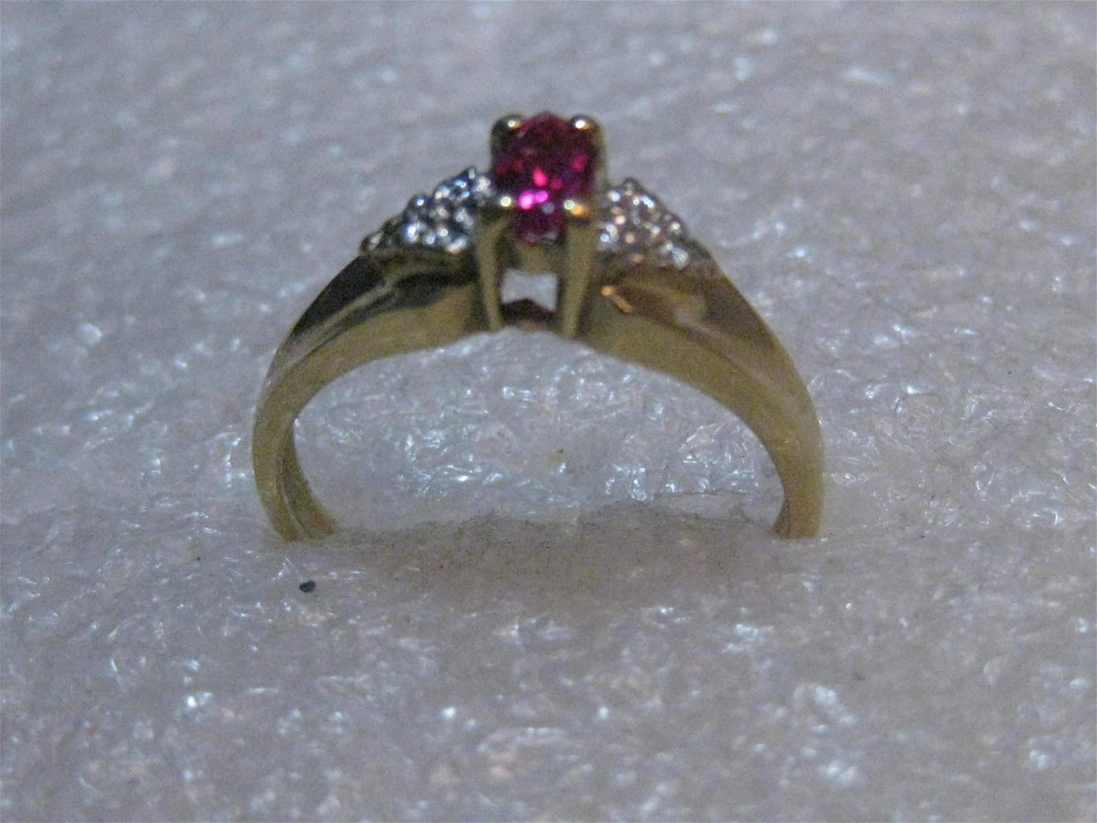 Vintage 10kt Marquis Ruby Ring, Diamond Chips, size 7,